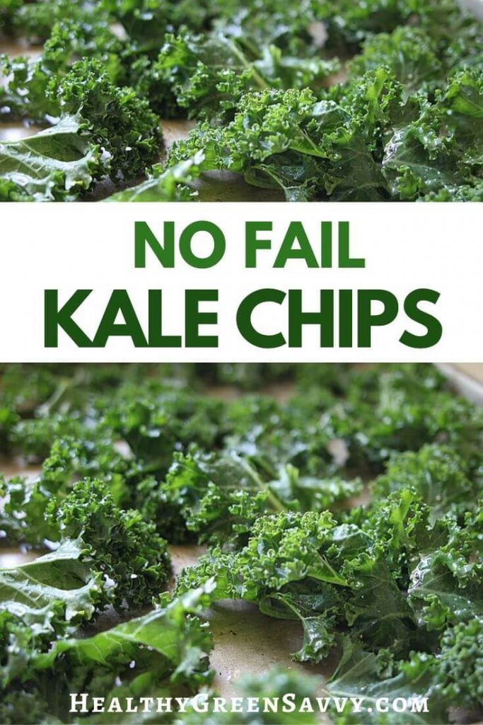 pin with title text and photo of kale leaves on baking pan