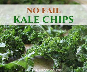 baked kale chips recipe cover with kale on cutting board and title text overlay