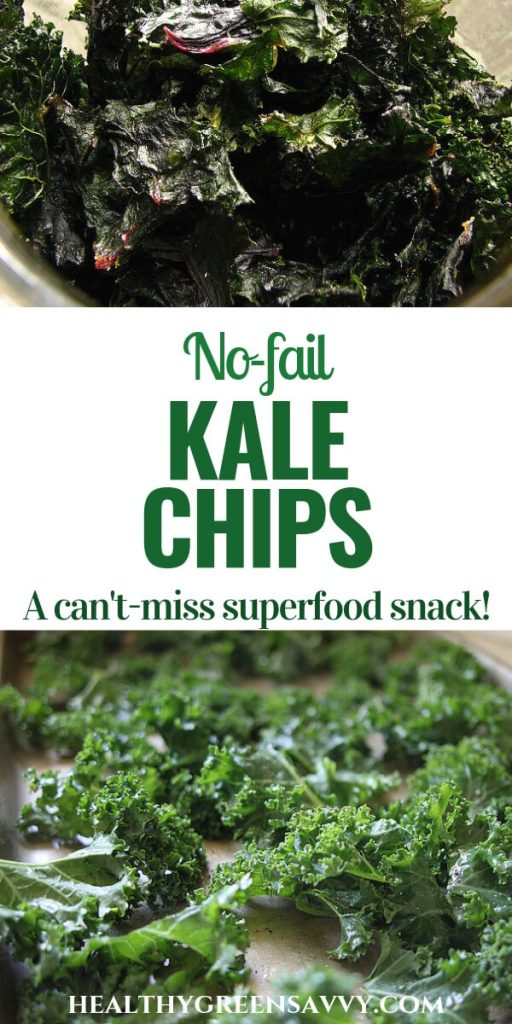 baked kale chips recipe -- pin with photos of raw kale and kale chips with title text