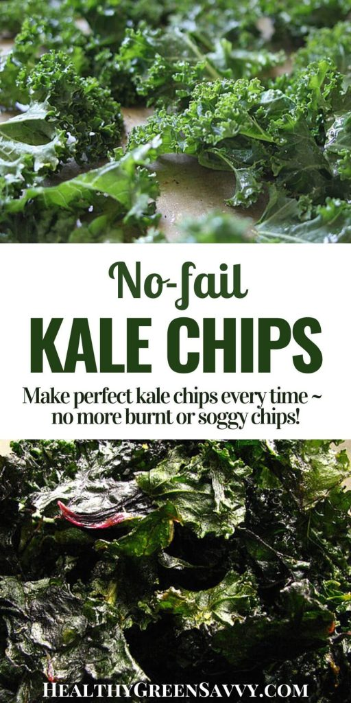 pin with title text and photos of raw kale and kale chips