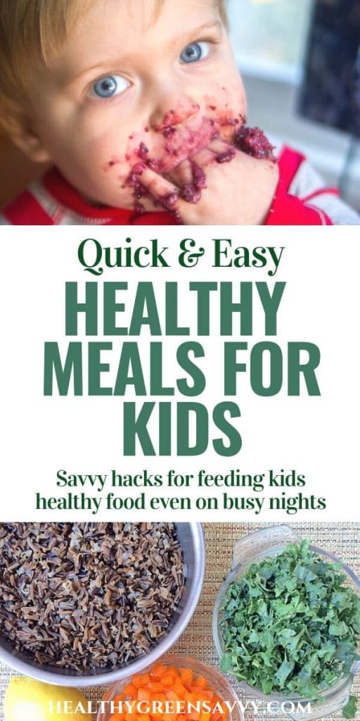 healthy food for kids -- pin with photo of kid eating and bowls full of rice and vegges