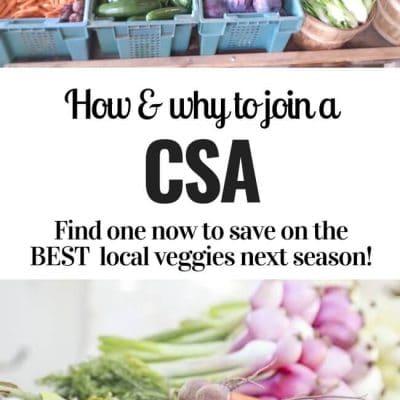 pin with photos of farm veggies