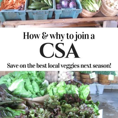 A CSA saves you money on the freshest fruits and vegetables while providing steady incomes for farmers and connecting you to your food. Find out how to choose a CSA that's right for you. Click to read more or pin to save for later. #CSA #localfood #farmshare #seasonaleating #communitysupportedagriculture