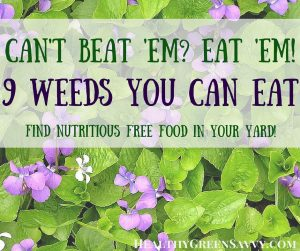growing your own food --photo of violets with text of post on edible weeds