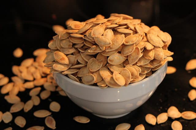 healthy Halloween roasted pumpkin seeds