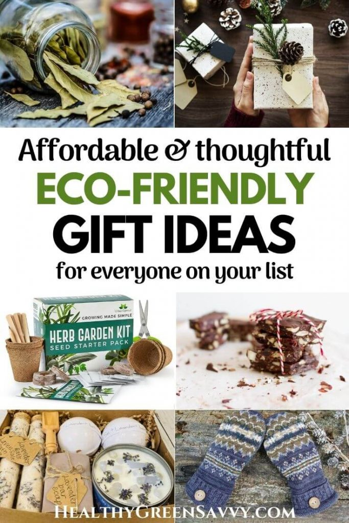 pin with title text and photos of ecofriendly gifts like dried herbs, a growing kit, homemade chocolates, handmade spa set, and upcycled mittens