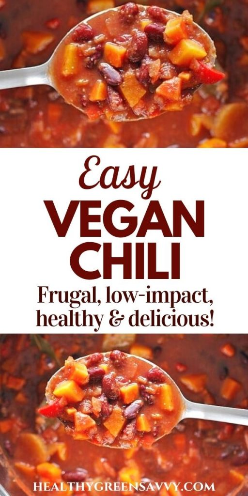 pin with photos of spoonful of vegetarian chili and title text