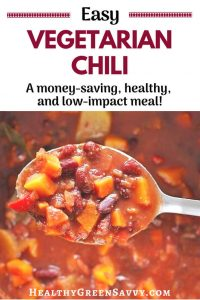 Vegetarian chili recipe -- pin with photo of spoonful of vegetarian chil with title text