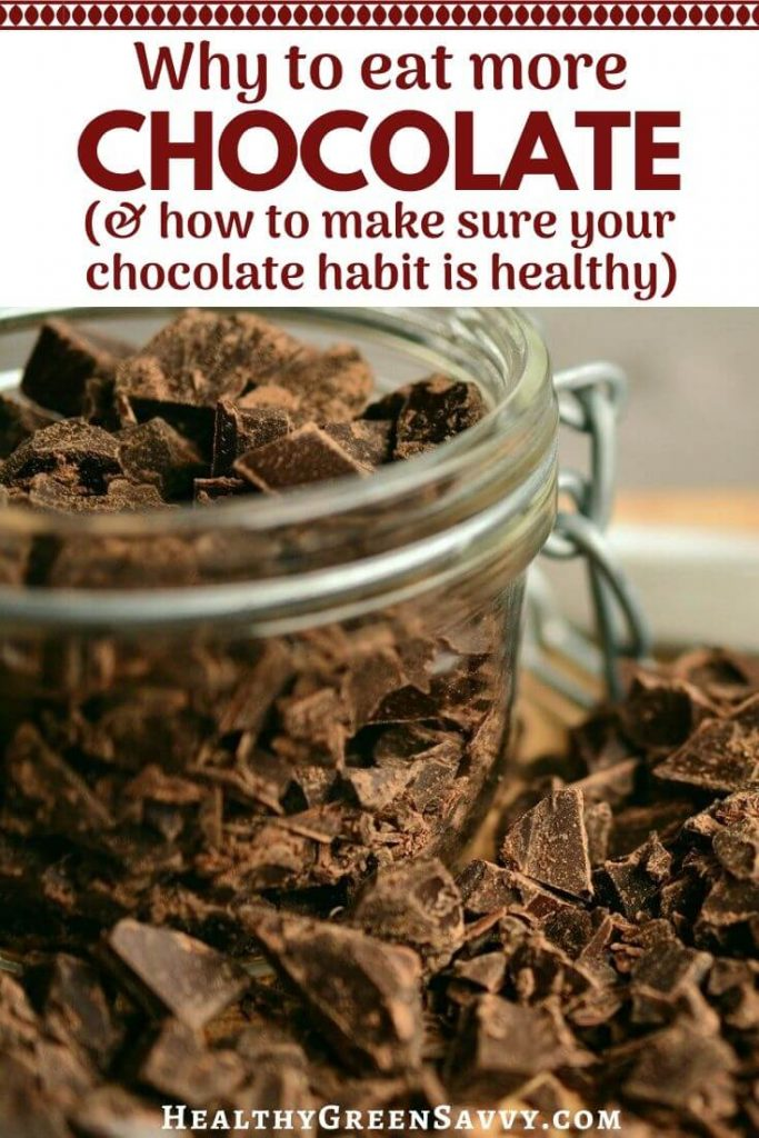 pin with photo of chopped chocolate with title text