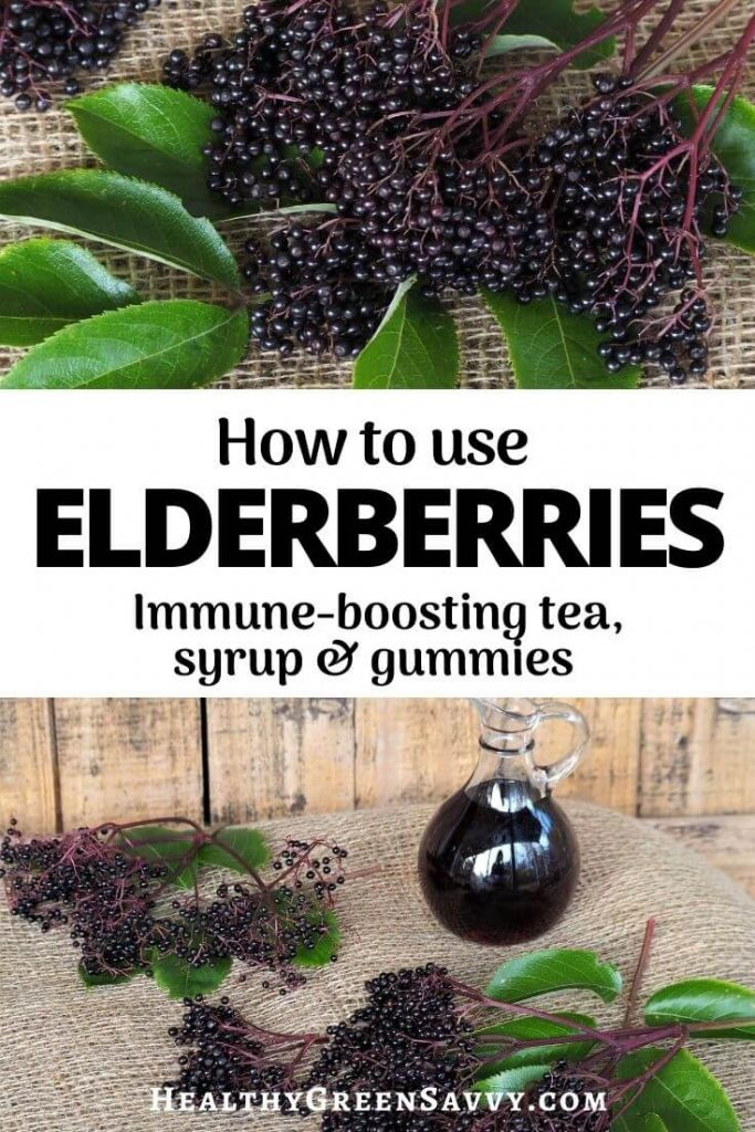 pin with title text and photos of clusters of elderberries and elderberry syrup