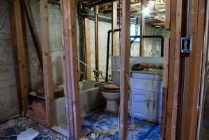 green remodeling tips -- photo of partly demoed bathroom