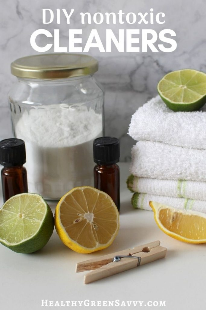 pin with photo of homemade cleaners with title text overlay