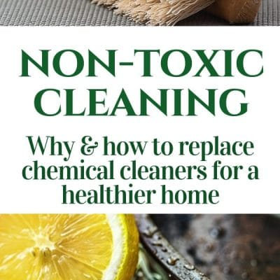 homemade cleaners -- pin with photos of scrub brush and lemon with title text