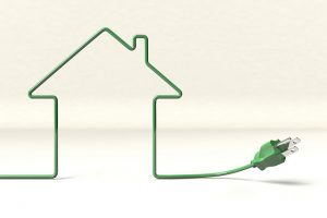 green remodeling -- drawing of green power cord in shape of a house