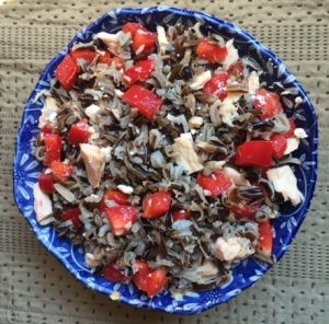 wild rice recipes -- photo of bowl of wild rice salad
