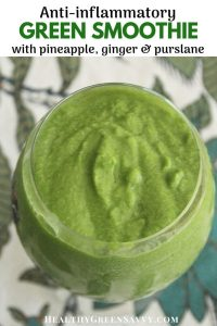 anti-Inflammatory smoothie recipe -- pin with photo of green smoothie and title text