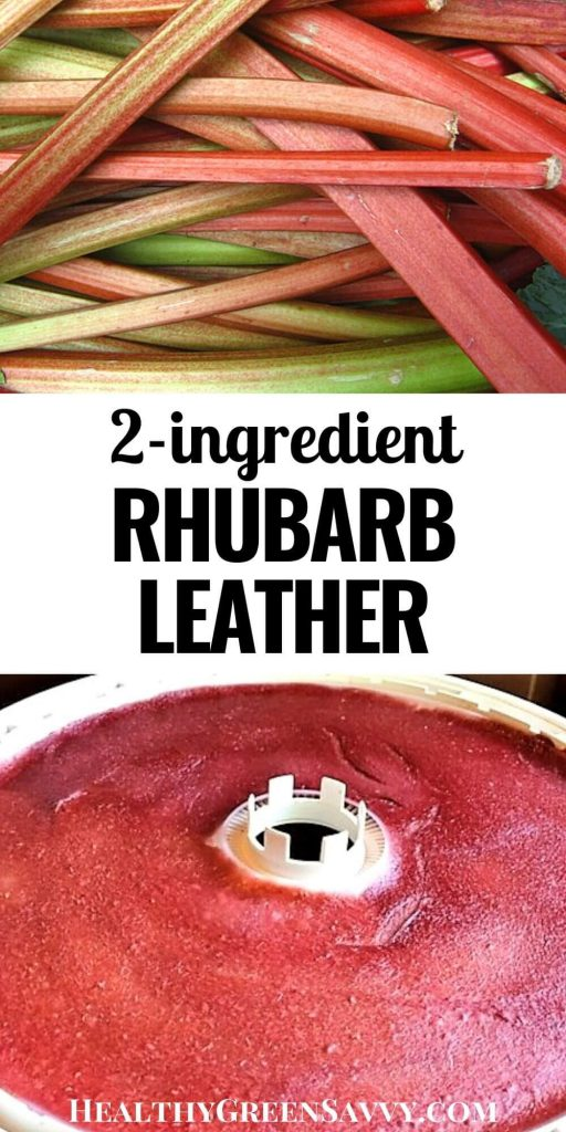 pin with photos of rhubarb stalks and homemade fruit leather with rhubarb plus title text