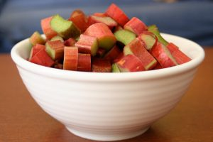how to cook with rhubarb: photo of rhubarb cut up in a bowl