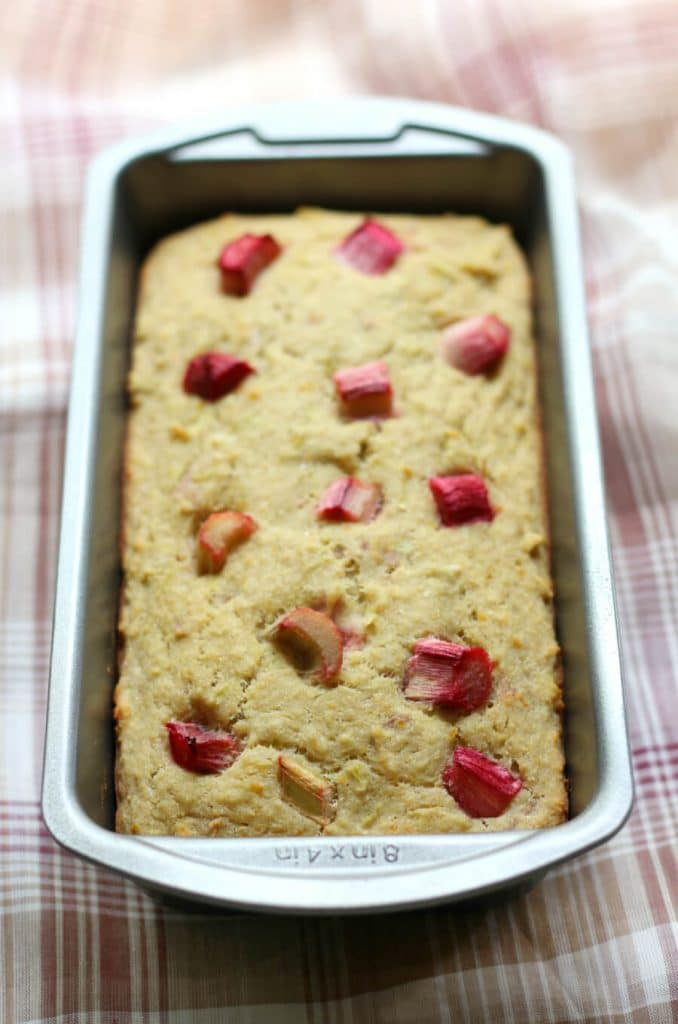 photo illustrating rhubarb uses: orange quickbread from Strength and Sunshine