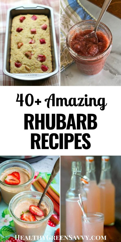 how to cook with rhubarb: pin with title text and photos of healthy rhubarb recipes