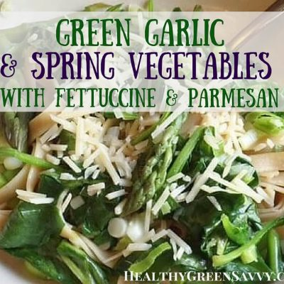 Spring garlic is utterly delicious and deserves to be better known. Simple but mouth-watering recipe for fettuccine with spring garlic,asparagus and spinach. Click to read more or pin to save for later. | Healthy recipes | spring recipes | pasta recipes | garlic recipes |