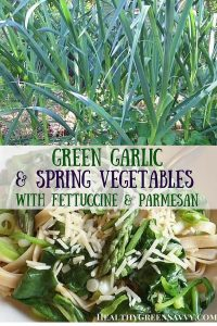 Green garlic is utterly delicious and deserves to be better known. This simple but mouth-watering recipe for fettuccine with spring garlic,asparagus and spinach makes the most of green garlic's delicate flavor. Seasonal eating at its best! #healthyrecipes #springrecipes #pastarecipes #garlicrecipes #springgarlic #greengarlic