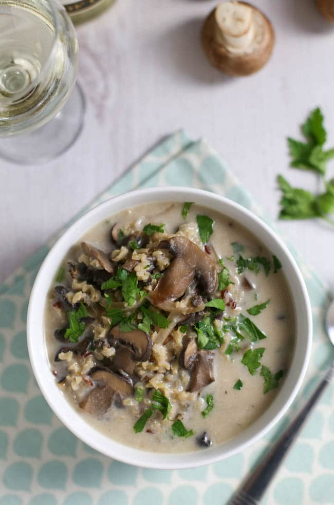 photo of wild rice recipe: Slow cooker wild rice and mushroom soup by Easy Cheesy Vegetarian
