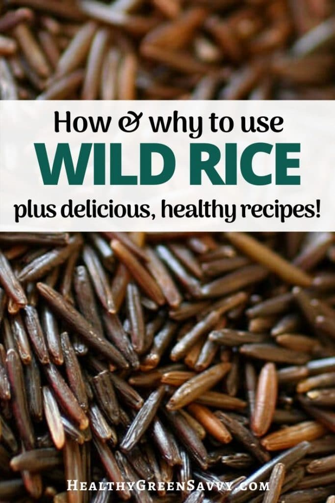 Pin with photo of wild rice with tite text