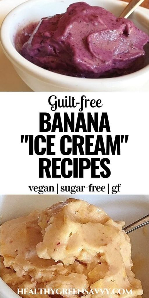 pin with closeups of blueberry and peach banana ice cream with title text