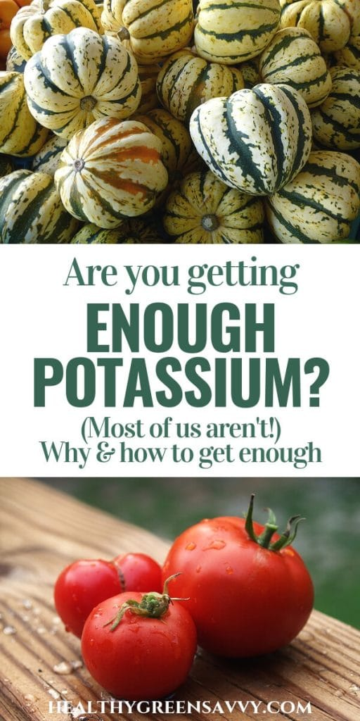 health benefits of potassium -- pin with photos of carnival squash and tomatoes with title text