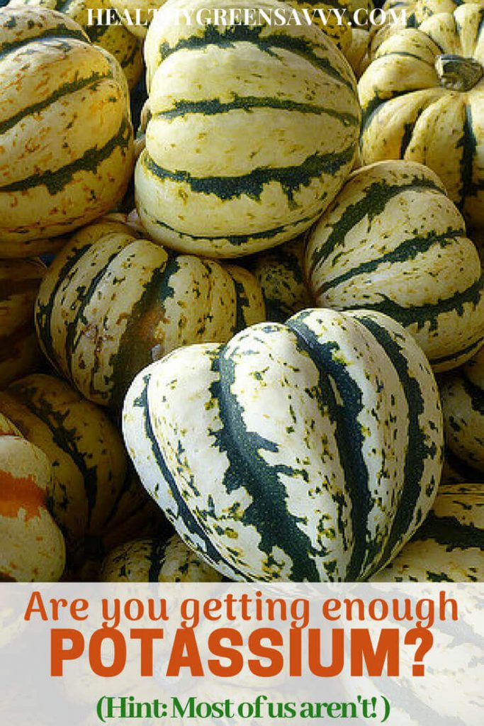 Health benefits of potassium -- pin with photo of carnival squash and title text