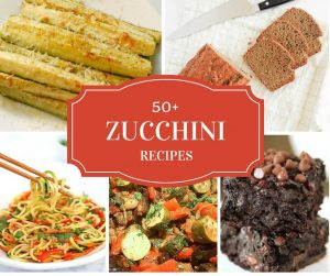 healthy zucchini recipes collection from around the blogosphere -- collage of zucchini dishes with title text