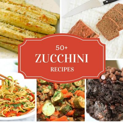 50 + delicious zucchini recipes! Great ideas for your surplus zucchini from top bloggers. Click to read more or pin to save for later.
