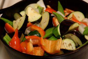 easy ratatouille recipe --closeup of veggies