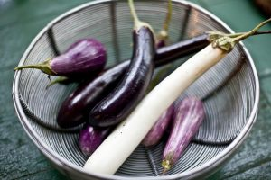 photo of purple and white Asian eggplant for easy ratatouille recipe