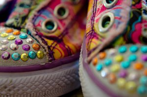 closeup of used sneakers