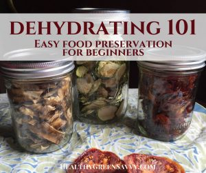 Dehydrating food-- cover showing dried food in jars with text overlay