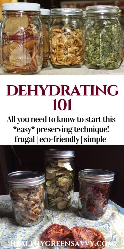 dehydrating food -- pin showing dried food in jars