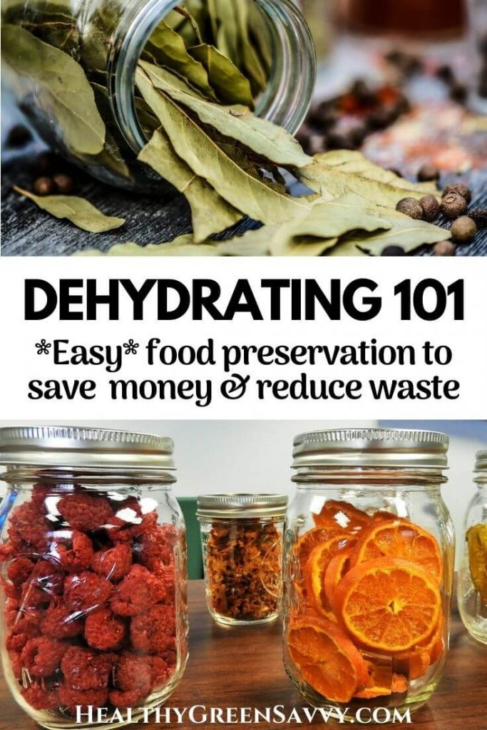 pin with title text and photos of dried bay leaves and dehydrated food in jars
