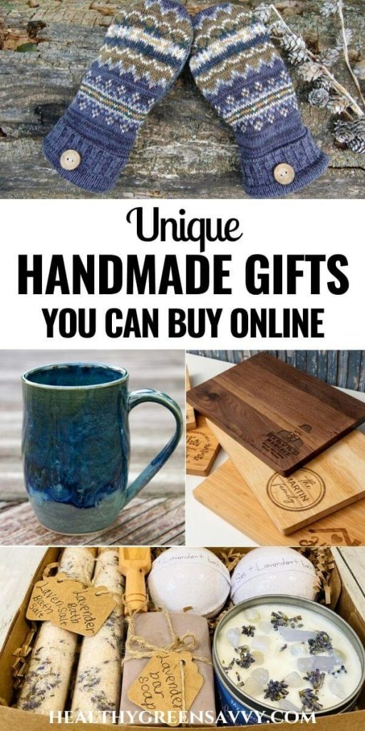 cover photo collage of handmade gifts you can buy: upcycled sweater mittens, handmade coffee mug, personalized wood cutting board, and handmade spa set