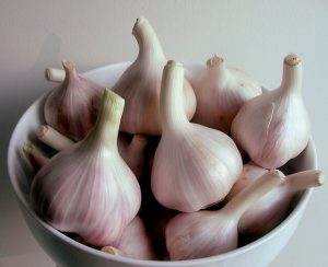closeup of bowl of garlic