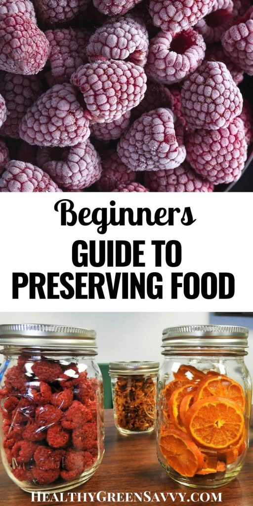 pin with photo of frozen berries and dried fruits in jars with title text