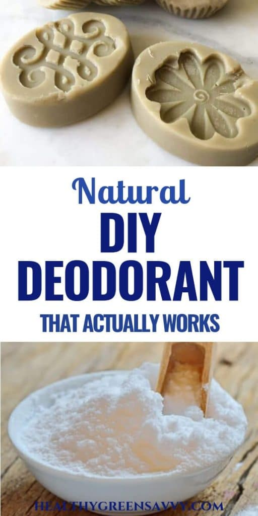 DIY deodorant -- pin with photos of homemade deodorant bar and bowl of baking soda with title text
