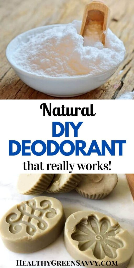 pin with photos of homemade deodorant bar and bowl of baking soda with title text