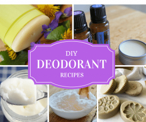 DIY deodorant -- cover with photos of homemade deodorant bars, creams, and bowl of baking soda with title text