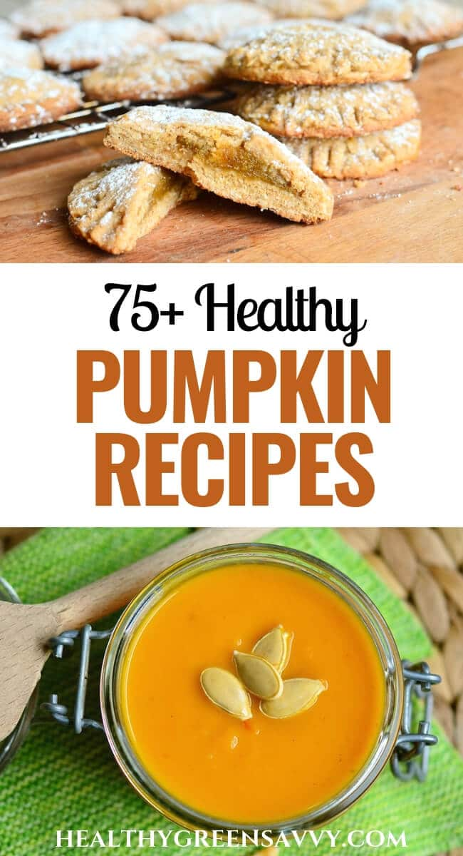 pin with photos of pumpkin cookies and pumpkin soup plus title text