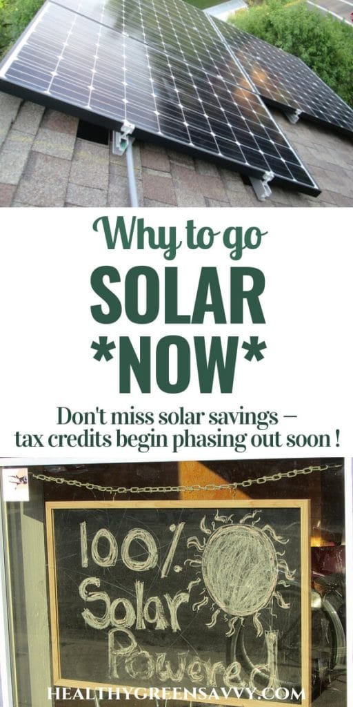 "home solar power - pin withphoto of solar panels and sign reading ""100% solar powered"""