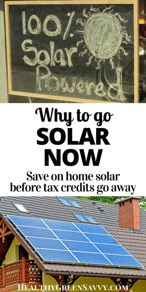 "pin with title text and photos of home solar panels and sign reading ""100% solar powered"""
