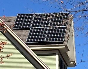 home solar power -- photo of panels on roof