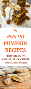 Healthy pumpkin recipes: 75 mouth-watering healthy pumpkin recipes from around the blogosphere. Pumpkin is a delicious and nutritious ingredient that adds nutrient-filled veggies to your baked goods, soups, and mains. #healthyrecipes #pumpkinrecipes #healthytreats
